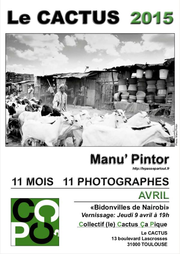 Affiche de l'exposition Bidonvilles de Nairobi au Cactus en avril 2015