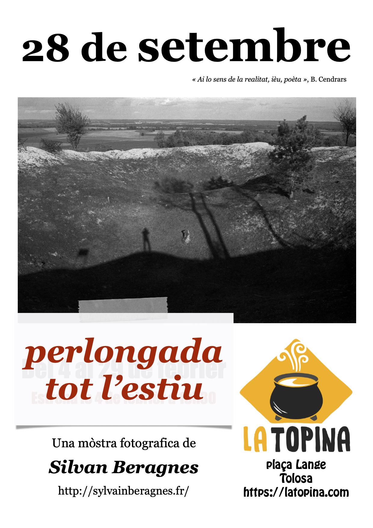 Affiche (occitan) de la prolongation de l'exposition de S.Béragnes à la Topina